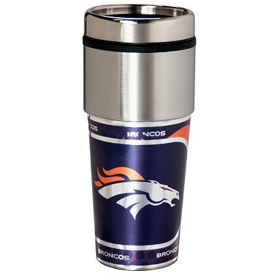 NFL Officially licensed products Denver Broncos 16  oz. Stainless Steel Travel Tumbler Metallic Graphics Enjoy your favorite