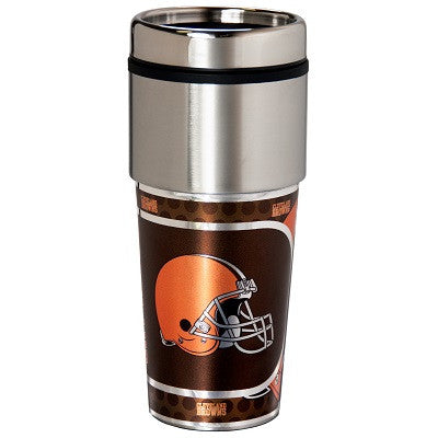 NFL Officially licensed products Cleveland Browns 16  oz. Stainless Steel Travel Tumbler Metallic Graphics Enjoy your favori