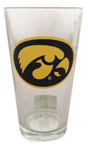 Iowa Hawkeyes 16 oz Pint Glass - Herky Head