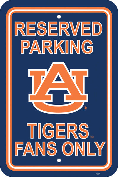 "NCAA Officially licensed products Auburn Tigers 12"" X 18"" Plastic Parking Sign Show your team spirit proudly with this 12"" X"