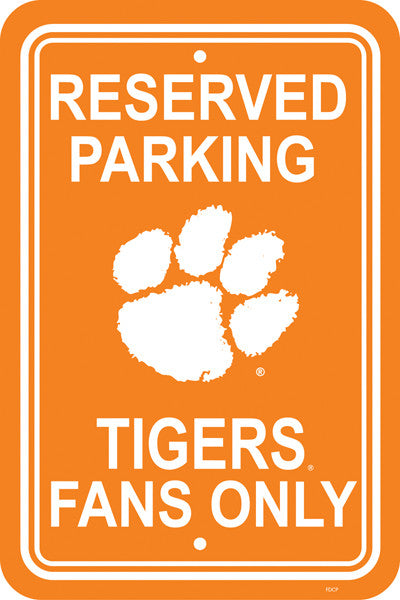 "NCAA Officially licensed products Clemson Tigers 12"" X 18"" Plastic Parking Sign Show your team spirit proudly with this 12"""