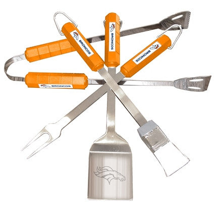 NFL Officially licensed products Denver Broncos 4 Piece Bbq Set Tailgating never looked so good! This stainless steel BBQ se