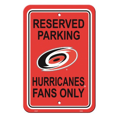 "NHL Officially licensed products Carolina Hurricanes Plastic Parking Sign Show your team spirit proudly with this 12"" X 18"""