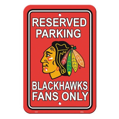 "NHL Officially licensed products Chicago Blackhawks Plastic Parking Sign Show your team spirit proudly with this 12"" X 18"" P"