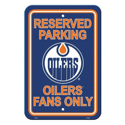 "NHL Officially licensed products Edmonton Oilers Plastic Parking Sign Show your team spirit proudly with this 12"" X 18"" Park"
