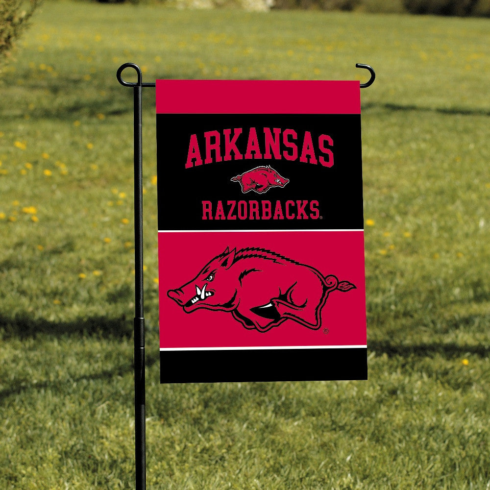 NCAA Officially licensed products Arkansas Razorbacks 2-Sided Garden Flag  Support your favorite team by hanging up this two