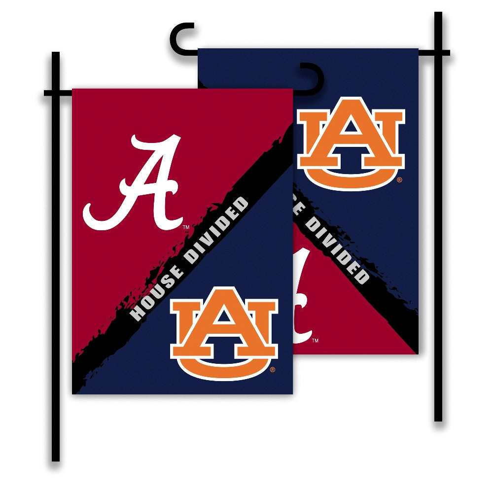 NCAA Officially licensed products Alabama - Auburn 2-Sided Garden Flag - Rivalry House Divided Show everyone that your house