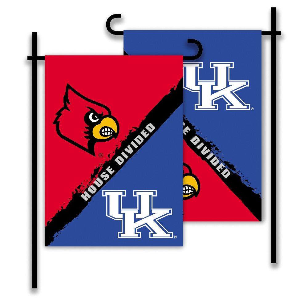 NCAA Officially licensed products Kentucky - Louisville 2-Sided Garden Flag - Rivalry House Divided Show everyone that your