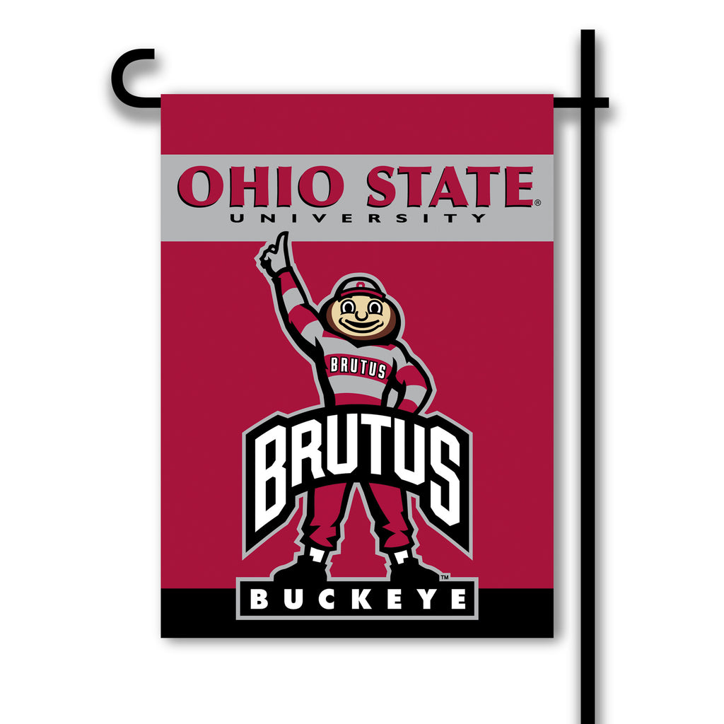 NCAA Officially licensed products Ohio State Buckeyes 2-Sided Garden Flag  Support your favorite team by hanging up this two