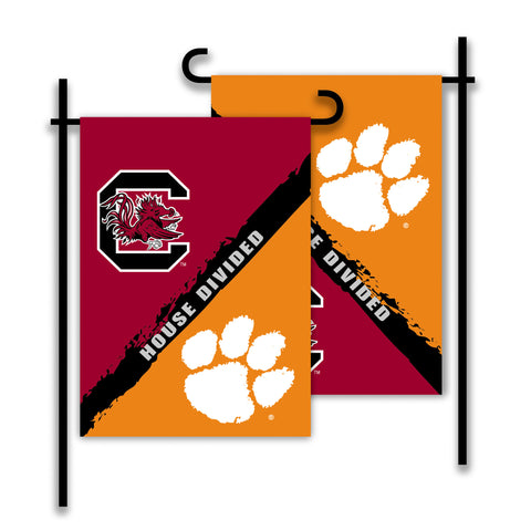 NCAA Officially licensed products Clemson - S. Carolina 2-Sided Garden Flag - Rivalry House Divided Show everyone that your