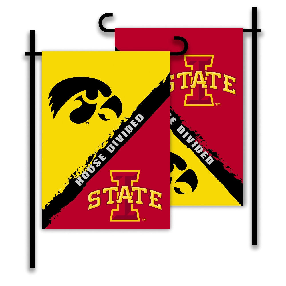 NCAA Officially licensed products Iowa - Iowa State 2-Sided Garden Flag - Rivalry House Divided Show everyone that your hous
