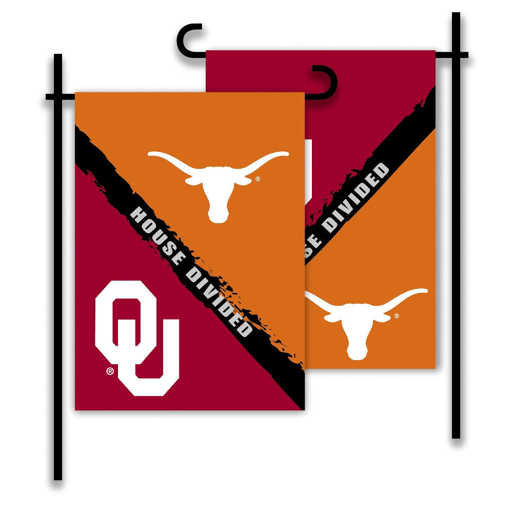 NCAA Officially licensed products Oklahoma - Texas 2-Sided Garden Flag - Rivalry House Divided Show everyone that your house