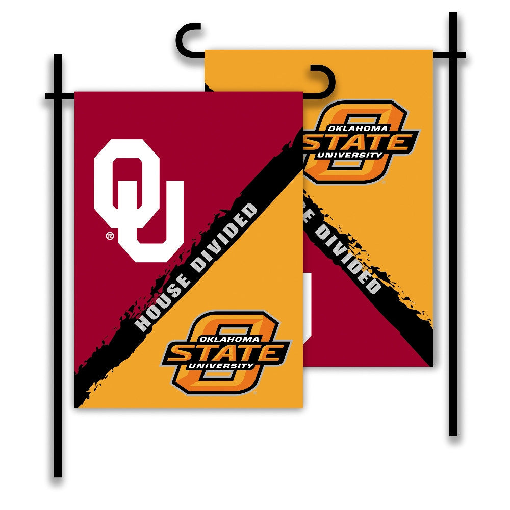 NCAA Officially licensed products Oklahoma - Oklahoma State 2-Sided Garden Flag - Rivalry House Divided Show everyone that y