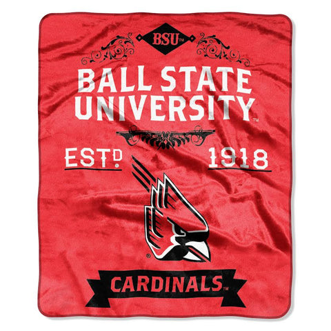 Ball State Cardinals Blanket 50x60 Raschel Label Design
