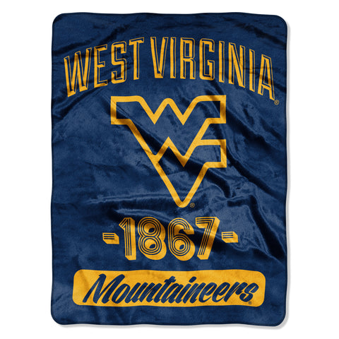 West Virginia Mountaineers Blanket 46x60 Raschel Varsity Design Rolled