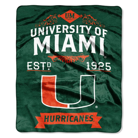 Miami Hurricanes Blanket 50x60 Raschel Label Design