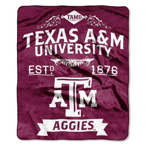 Texas A&M Aggies Blanket 50x60 Raschel Label Design