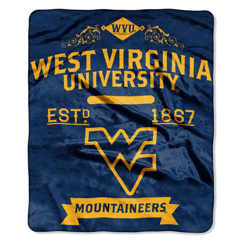 West Virginia Mountaineers Blanket 50x60 Raschel Label Design