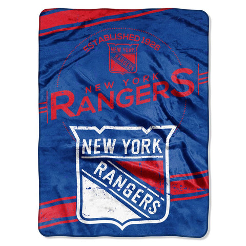 New York Rangers Blanket 60x80 Raschel Stamp Design