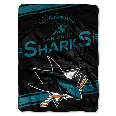 San Jose Sharks Blanket 60x80 Raschel Stamp Design