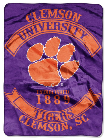 Clemson Tigers Blanket 60x80 Raschel Rebel Design