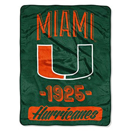 Miami Hurricanes Blanket 46x60 Raschel Varisty Design Rolled