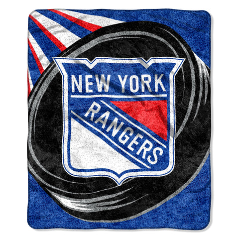 New York Rangers Blanket 50x60 Sherpa Puck Design