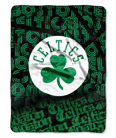 Boston Celtics Blanket Blanket 46x60 Raschel Redux Design Rolled