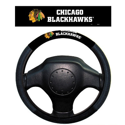 NHL Officially licensed products Chicago Blackhawks Poly-Suede Steering Wheel Cover Poly-suede material for comfortable grip