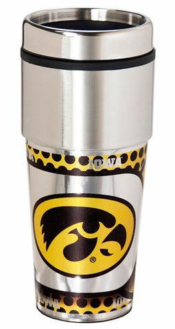 Iowa Hawkeyes 16 ounce Travel Tumbler with Metallic Graphics