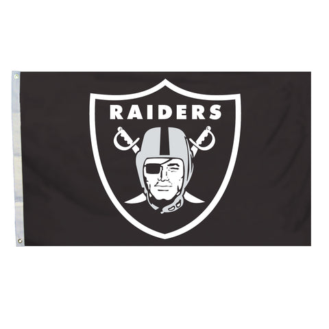 NFL Officially licensed products Oakland Raiders 4 Ft. X 6 Ft. Flag W/Grommetts Show everyone that you are a die-hard fan by