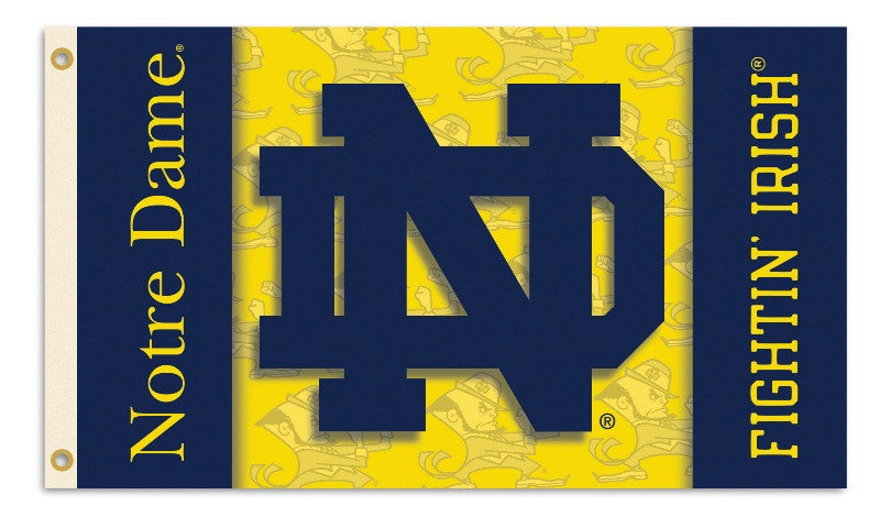 NCAA Officially licensed products Notre Dame 2-Sided 3 Ft. X 5 Ft. Flag W/Grommets Show your school spirit by hanging this 3