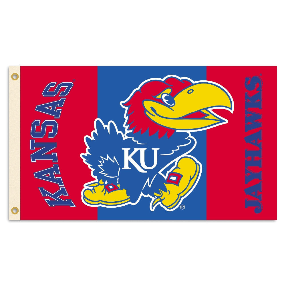 NCAA Officially licensed products Kansas Jayhawks 2-Sided 3 Ft. X 5 Ft. Flag W/Grommets Show your school spirit by hanging t