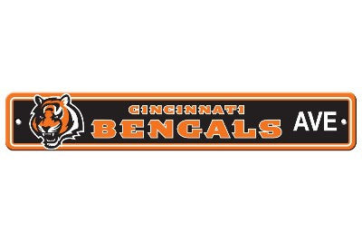 "NFL Officially licensed products Cincinnati Bengals Plastic Street Sign Show your team spirit proudly with this 4"" X 24"" Str"