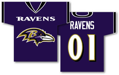 "NFL Officially licensed products Baltimore Ravens Jersey Banner 34"" x 30"" - 2-Sided These premium two-sided 34"" x 30"" Jersey"