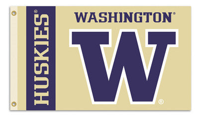 NCAA Officially licensed products Washington Huskies 3 Ft. X 5 Ft. Flag W/Grommets Show everyone that you are a die-hard fan