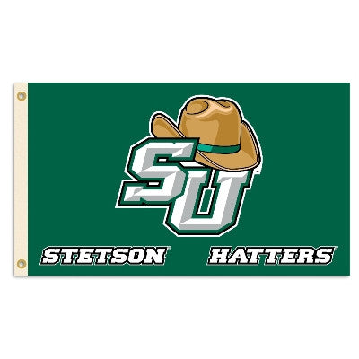 NCAA Officially licensed products Stetson  (w/hat) 3 Ft. X 5 Ft. Flag W/Grommets Show everyone that you are a die-hard fan b