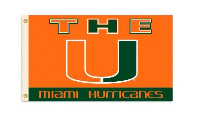 NCAA Officially licensed products Miami Hurricanes 3 Ft. X 5 Ft. Flag W/Grommets Show everyone that you are a die-hard fan b