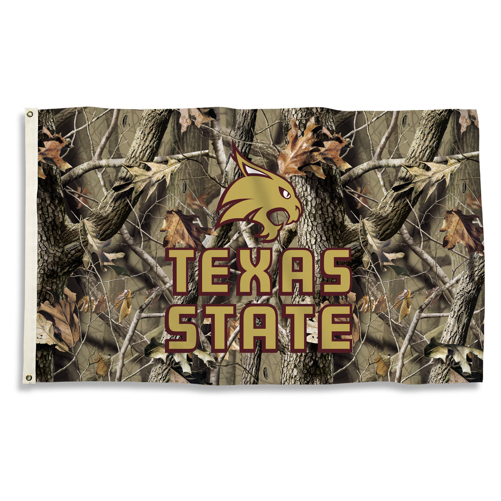 NCAA Officially licensed products Texas State Bobcats 3 Ft. X 5 Ft. Flag W/Grommets - Realtree Camo Background Show everyone