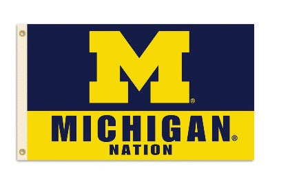 NCAA Officially licensed products Michigan Wolverines 3 Ft. X 5 Ft. Flag W/Grommets Show everyone that you are a die-hard fa