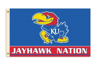 NCAA Officially licensed products Kansas Jayhawks 3 Ft. X 5 Ft. Flag W/Grommets Show everyone that you are a die-hard fan by