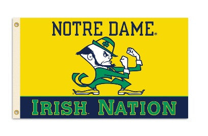 NCAA Officially licensed products Notre Dame 3 Ft. X 5 Ft. Flag W/Grommets Show everyone that you are a die-hard fan by hang