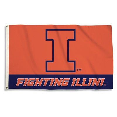 NCAA Officially licensed products Illinois Fighting Illini 3 Ft. X 5 Ft. Flag W/Grommets Show everyone that you are a die-ha