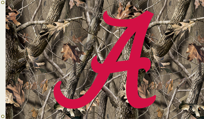 NCAA Officially licensed products Alabama Crimson Tide 3 Ft. X 5 Ft. Flag W/Grommets - Realtree Camo Background Show everyon