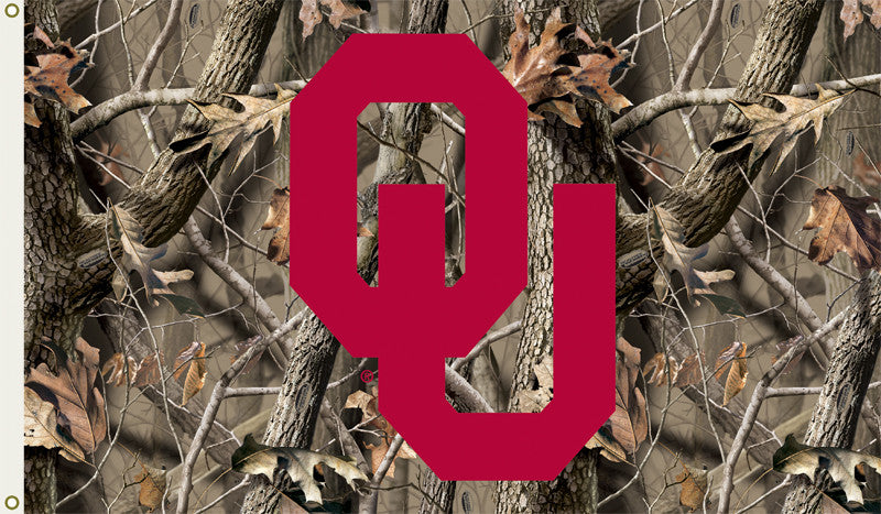 NCAA Officially licensed products Oklahoma Sooners 3 Ft. X 5 Ft. Flag W/Grommets - Realtree Camo Background Show everyone th