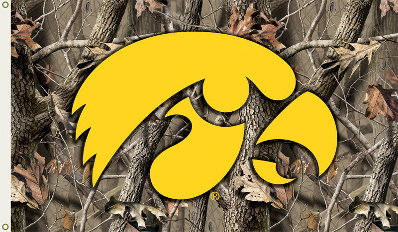 NCAA Officially licensed products Iowa Hawkeyes   3 Ft. X 5 Ft. Flag W/Grommets - Realtree Camo Background Show everyone tha