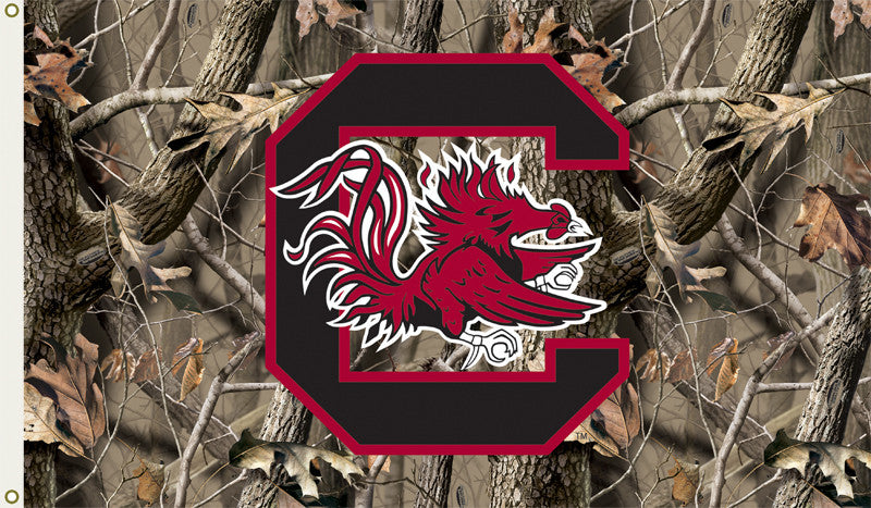 NCAA Officially licensed products South Carolina Gamecocks 3 Ft. X 5 Ft. Flag W/Grommets - Realtree Camo Background Show eve