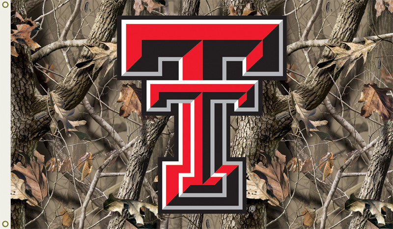 NCAA Officially licensed products Texas Tech Red Raiders 3 Ft. X 5 Ft. Flag W/Grommets - Realtree Camo Background Show every