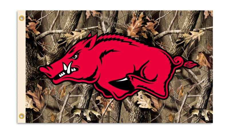 NCAA Officially licensed products Arkansas Razorbacks 3 Ft. X 5 Ft. Flag W/Grommets - Realtree Camo Background Show everyone