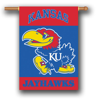 "NCAA Officially licensed products Kansas Jayhawks 2-Sided 28"" X 40"" Banner W/ Pole Sleeve Support your favorite team by hang"